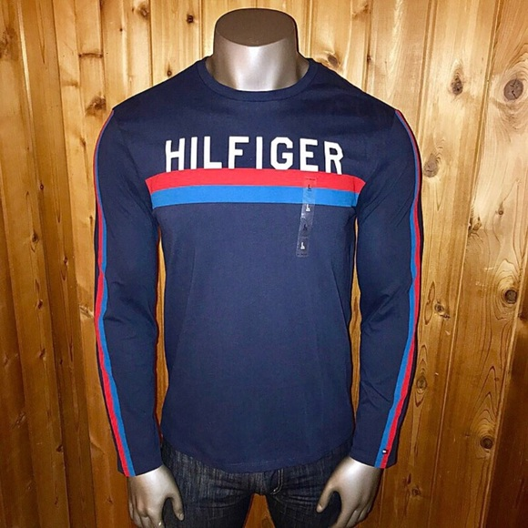 size MEDIUM Red//Navy TOMMY HILFIGER Men/'s Long Sleeve Colour-block Top